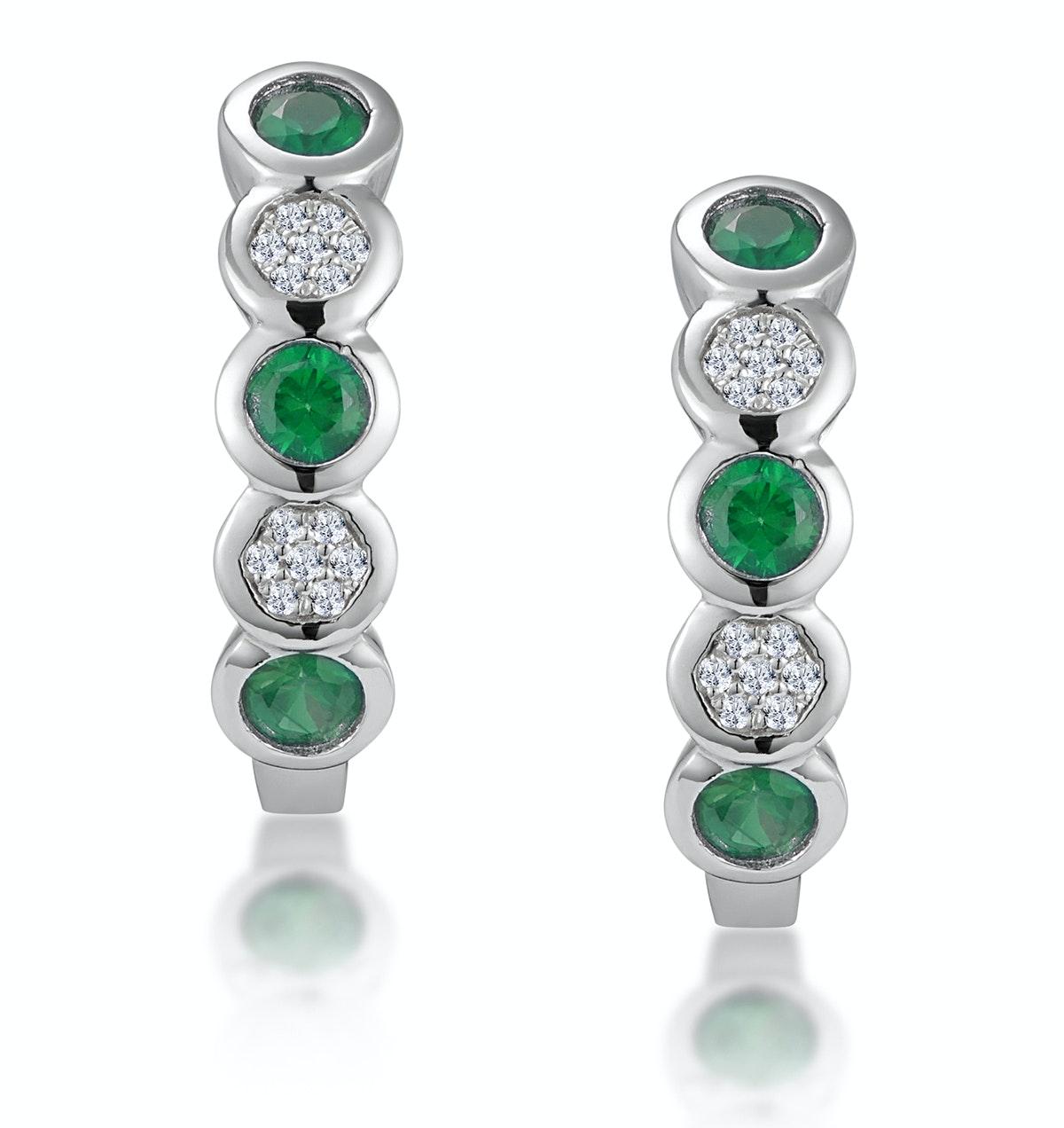 Stellato Emerald and Diamond Eternity Earrings in 9K White Gold
