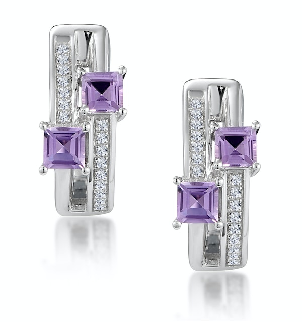 Twin Amethyst and Diamond Stellato Earrings in 9K White Gold - image 1
