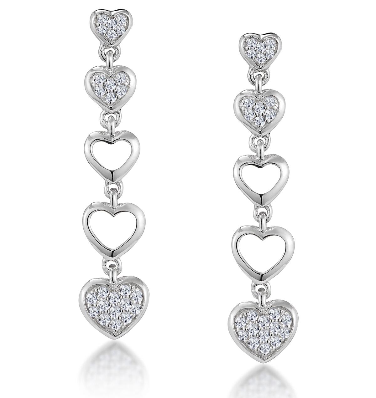 Stellato Collection Drop Diamond Heart Earrings in 9K White Gold