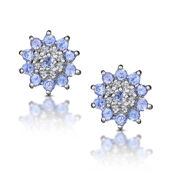 Tanzanite 0.52CT And Diamond 9K White Gold Earrings - image 1