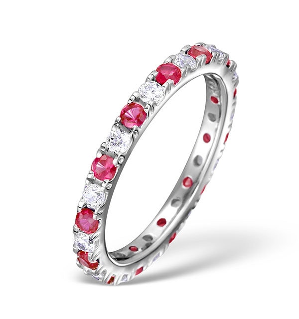 Ruby and Diamond Platinum Eternity Ring - Size P.5 - image 1