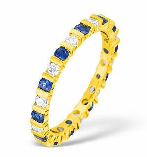 HANNAH 18K GOLD SAPPHIRE 0.70CT AND G/VS 1CT DIAMOND ETERNITY RING