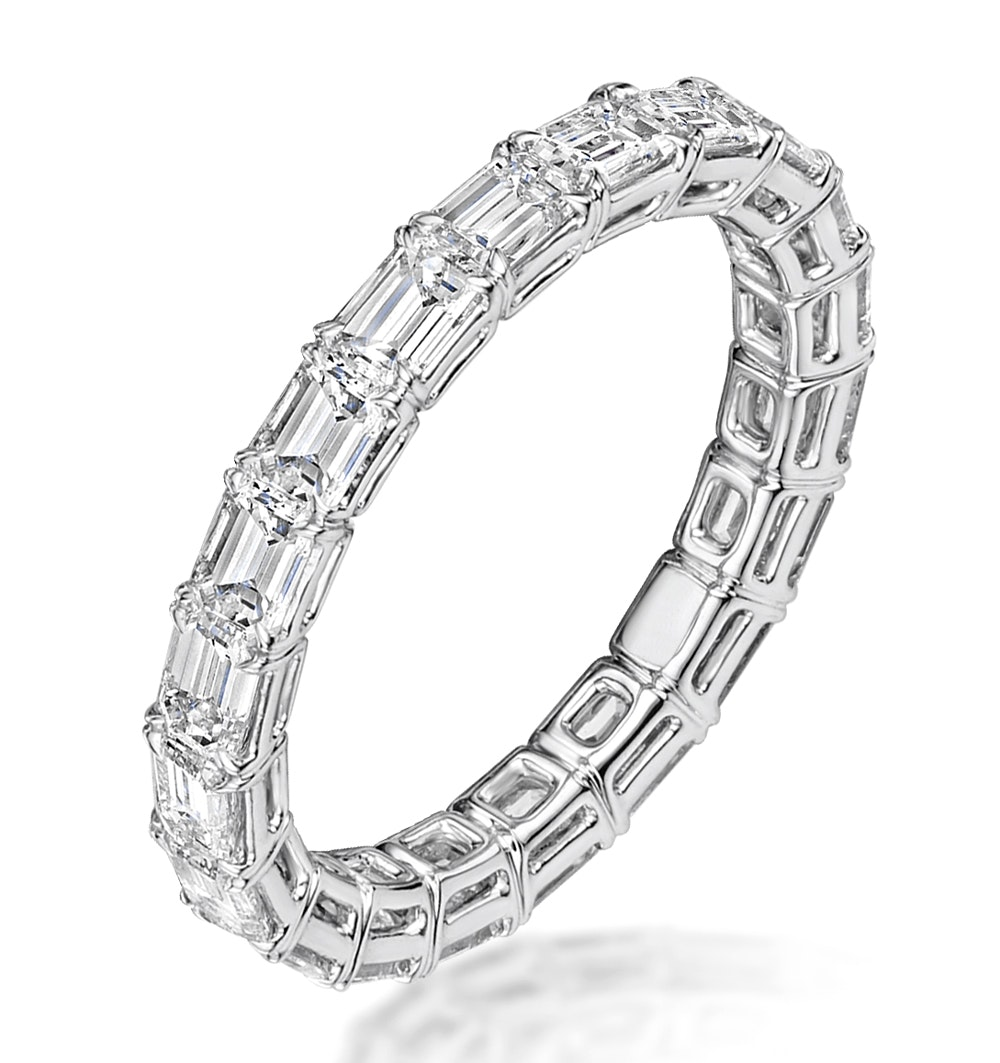 Viola Diamond Eternity Ring Emerald Cut 2.75ct VVs Platinum Size O-W