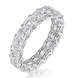 ELISA DIAMOND ETERNITY RING ASSCHER CUT 3.2CT VVS PLATINUM SIZE H-I