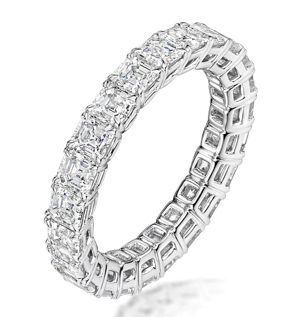 Elena Diamond Eternity Ring Asscher Cut 4.94ct VVs Platinum Size H-I