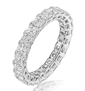 ELENA DIAMOND ETERNITY RING ASSCHER CUT 3.2CT VVS PLATINUM SIZE H-I