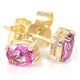 Pink Sapphire 5 X 4mm 18K Yellow Gold Earrings - image 2