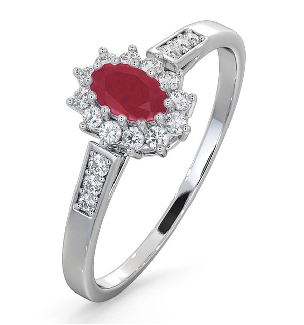 Ruby 5 x 3mm And Diamond 9K White Gold Ring - image 1