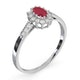 Ruby 5 x 3mm And Diamond 9K White Gold Ring - image 3
