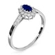 Sapphire 5 x 3mm And Diamond 9K White Gold Ring - image 3