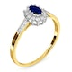 Sapphire 5 x 3mm And Diamond 9K Gold Ring  A3261 - image 3