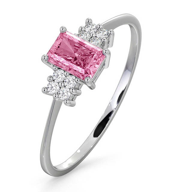9K White Gold Diamond Pink Sapphire Ring 0.06ct