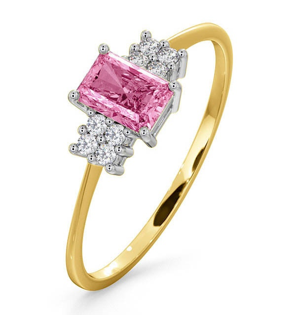 9K Gold Diamond Pink Sapphire Ring 0.06ct
