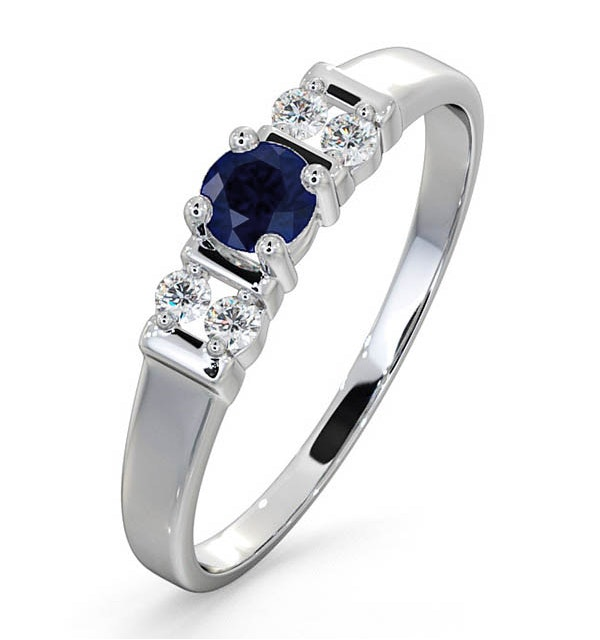 Sapphire 3.75mm And Diamond 9K White Gold Ring - image 1