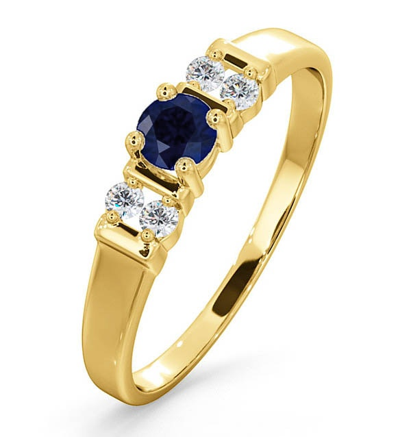 Kanchan Sapphire 3.75mm And Diamond 9K Gold Ring