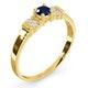 Kanchan Sapphire 3.75mm And Diamond 9K Gold Ring - image 3