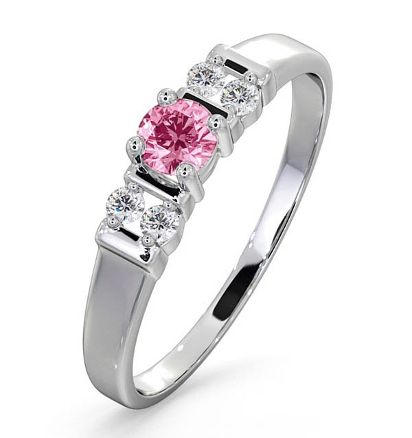 Pink Sapphire and 0.10ct Diamond Ring 9K White Gold