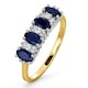 Sapphire 5 x 3mm And Diamond 9K Gold Ring - image 1
