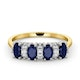 Sapphire 5 x 3mm And Diamond 9K Gold Ring - image 2