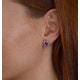 Pink Sapphire 7 x 5mm And Diamond 18K White Gold Earrings - image 3