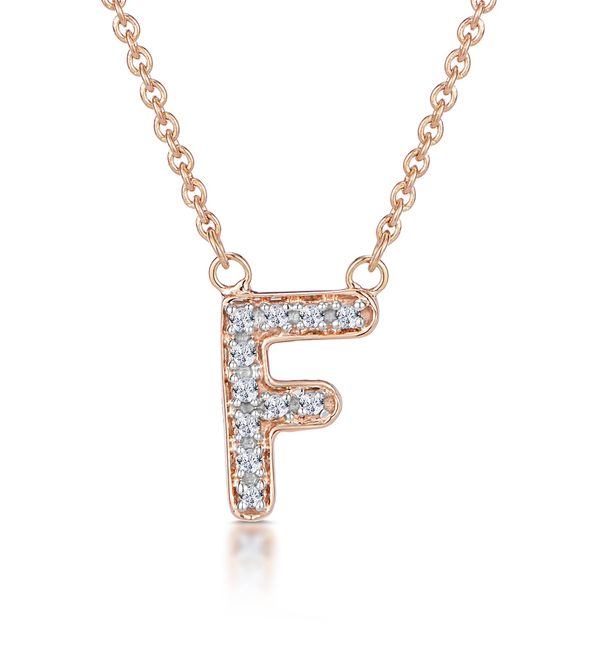 Initial 'F' Necklace Diamond Encrusted Pave Set in 9K Rose Gold