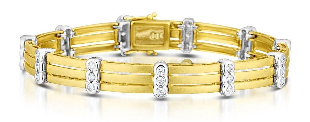 9K Two Tone Diamond Bracelet