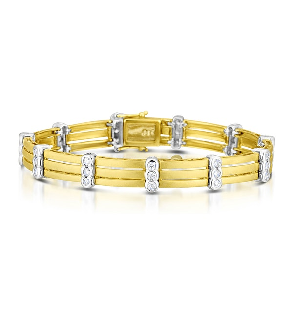 9K Two Tone Diamond Bracelet - image 1