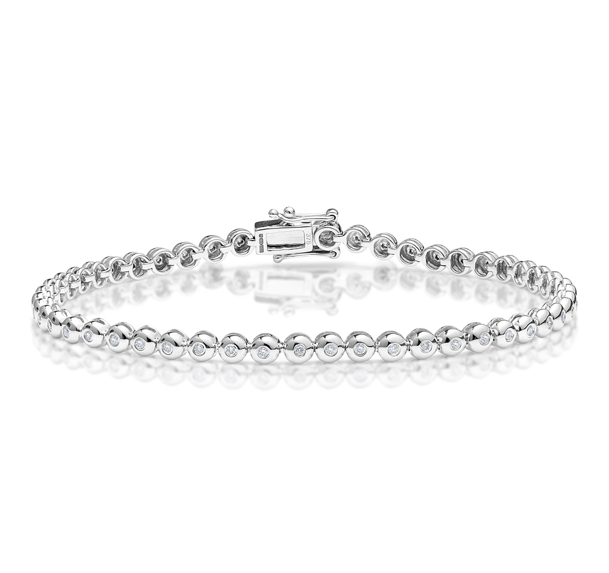 Diamond Tennis Bracelet Rubover Style 0.50ct 9K White Gold