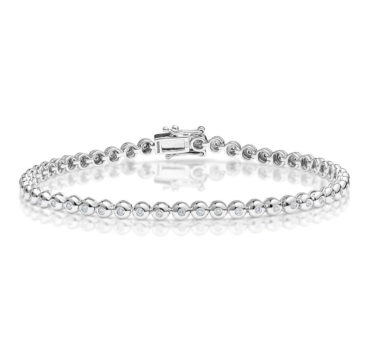 Diamond Tennis Bracelet Rubover Style 0.50ct 9K White Gold
