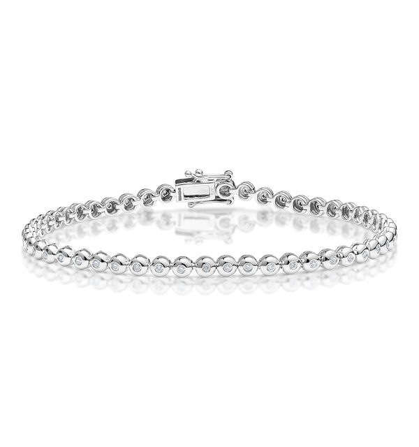 Diamond Tennis Bracelet Rubover Style 0.50ct 9K White Gold - image 1