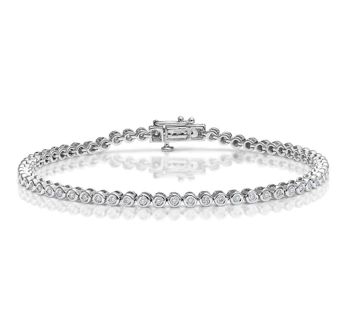 Diamond Tennis Bracelet Rubover Style 1.00ct 9K White Gold