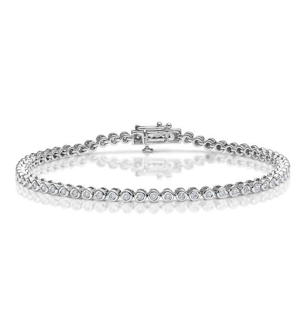 Diamond Tennis Bracelet Rubover Style 1.00ct 9K White Gold - image 1