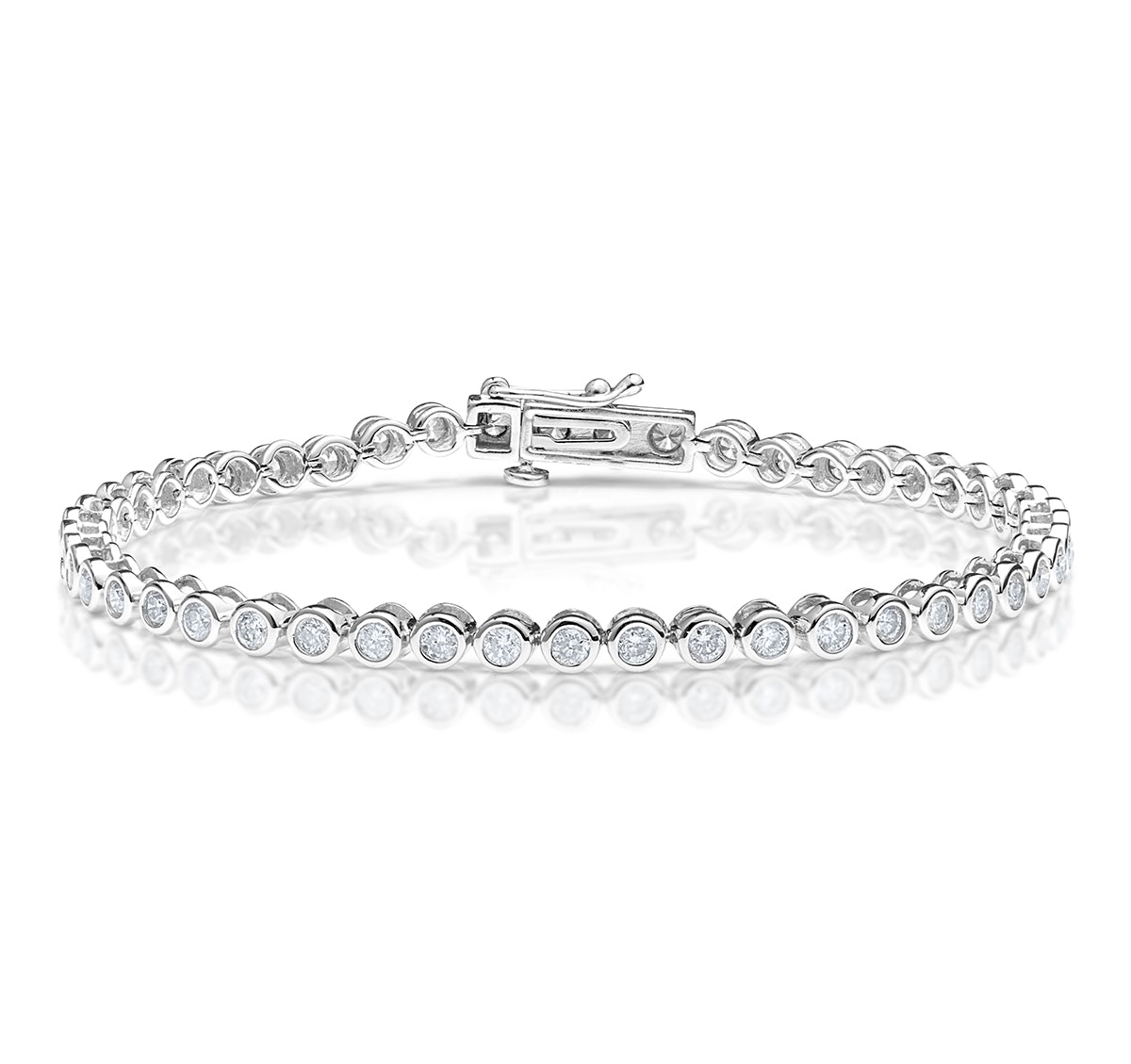 Diamond Tennis Bracelet Rubover Style 3.00ct 9K White Gold