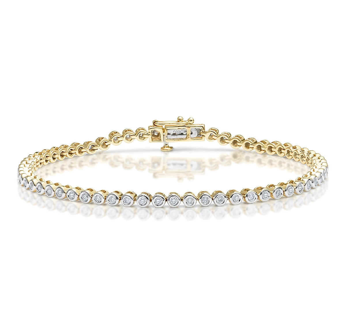 Diamond Tennis Bracelet Rubover Style 1.00ct 9K Gold
