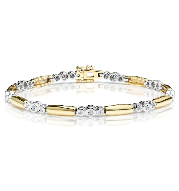 1/4 Carat Diamond Rubover Bracelet in 9K Gold - image 1