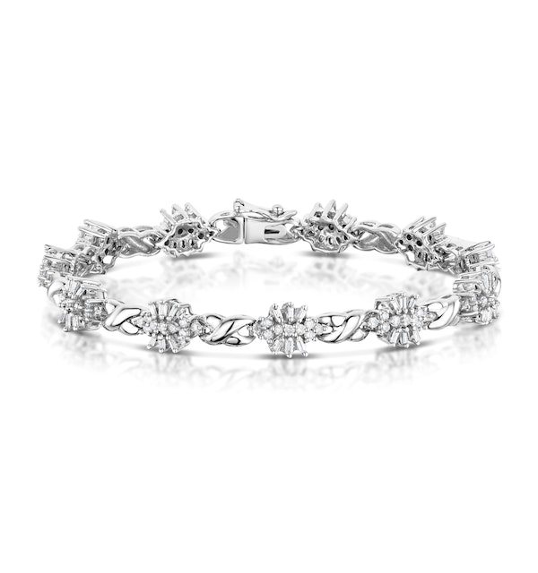 2.05ct Diamond Cluster Bracelet in 9K White Gold - image 1
