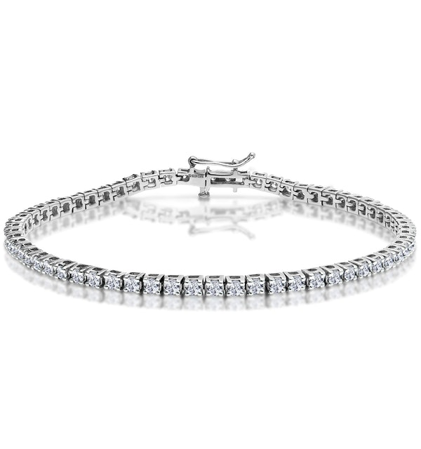 3ct Diamond Tennis Bracelet Claw Set in 9K White Gold - image 1