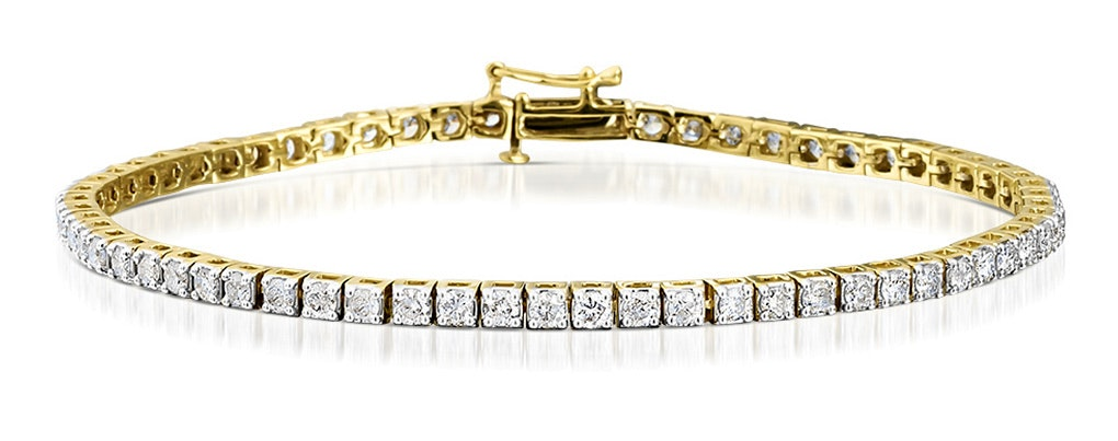 4ct Diamond Tennis Bracelet Claw Set in 9K Yellow Gold