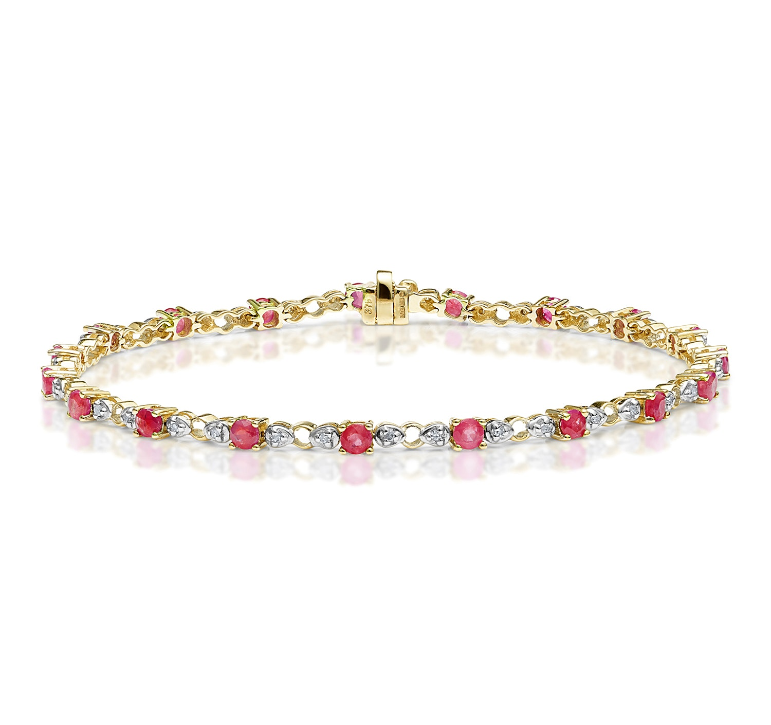 9K Gold Diamond and Ruby Claw Set Link Bracelet
