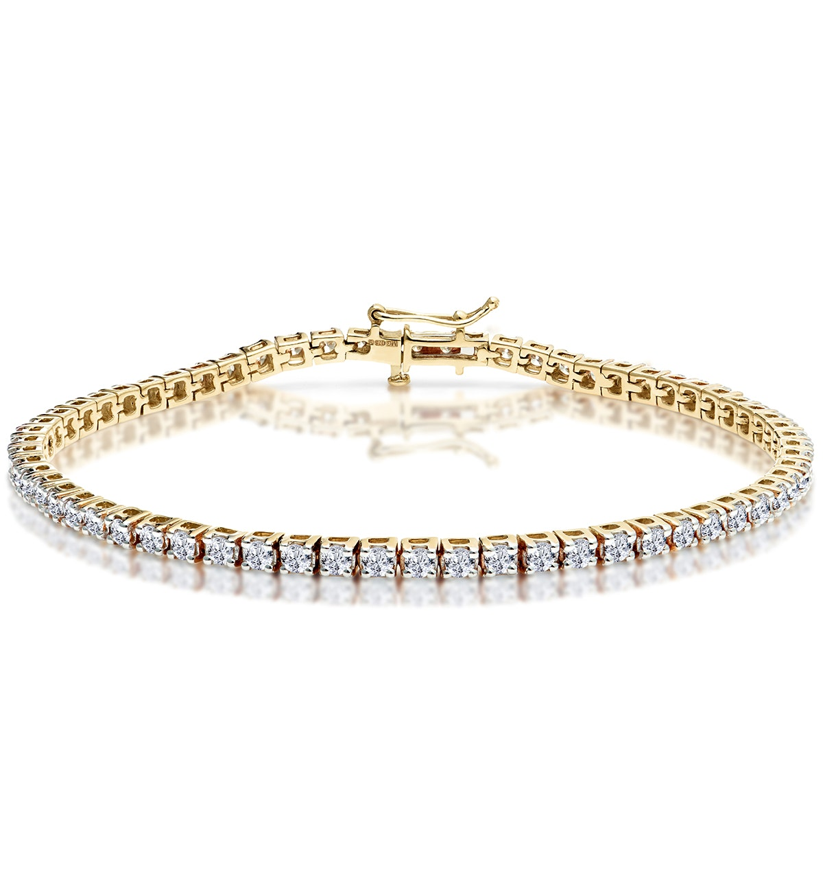 3ct Diamond Tennis Bracelet Claw Set in 9K Yellow Gold