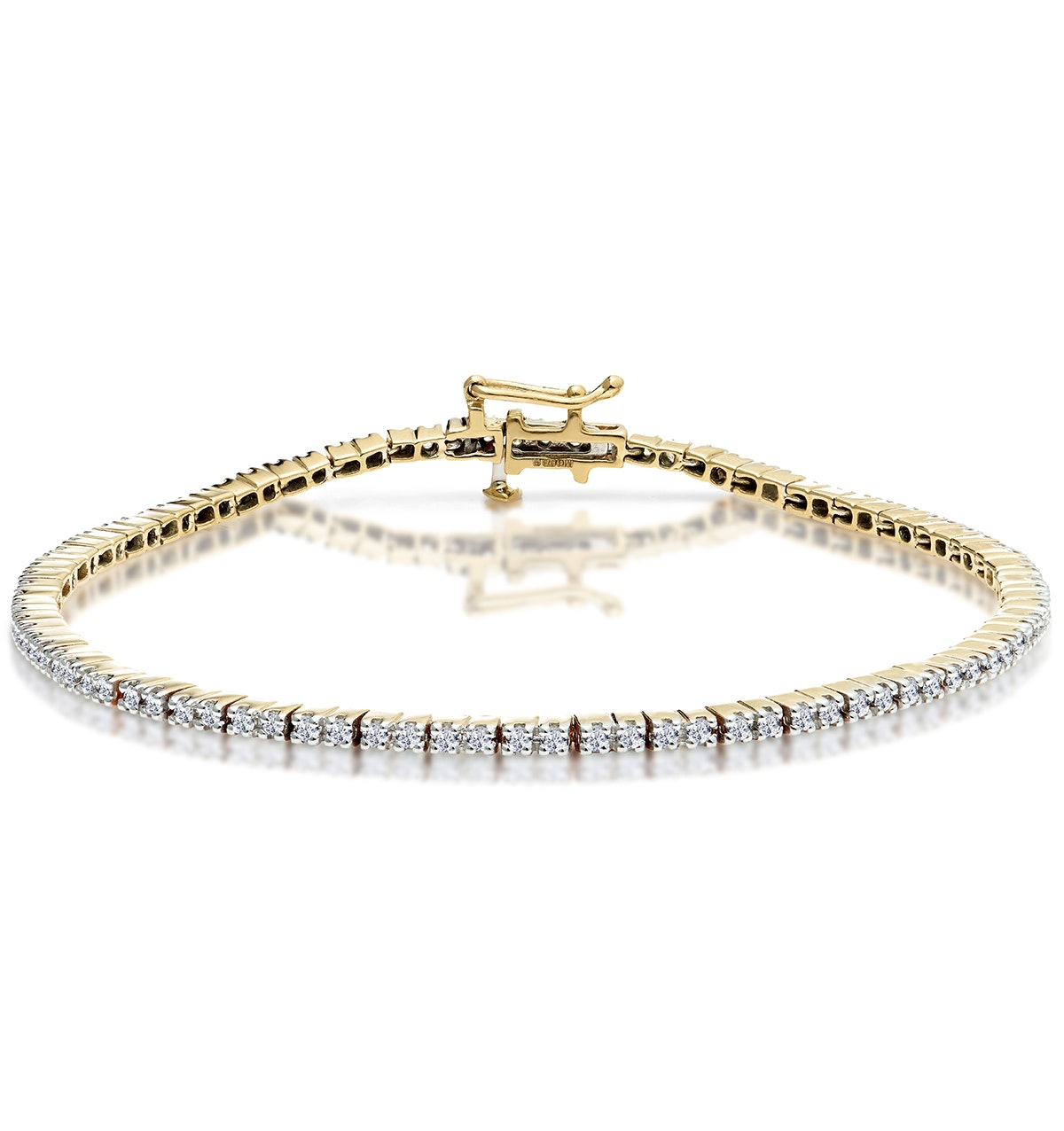 1ct Diamond Tennis Bracelet Claw Set in 9K Yellow Gold