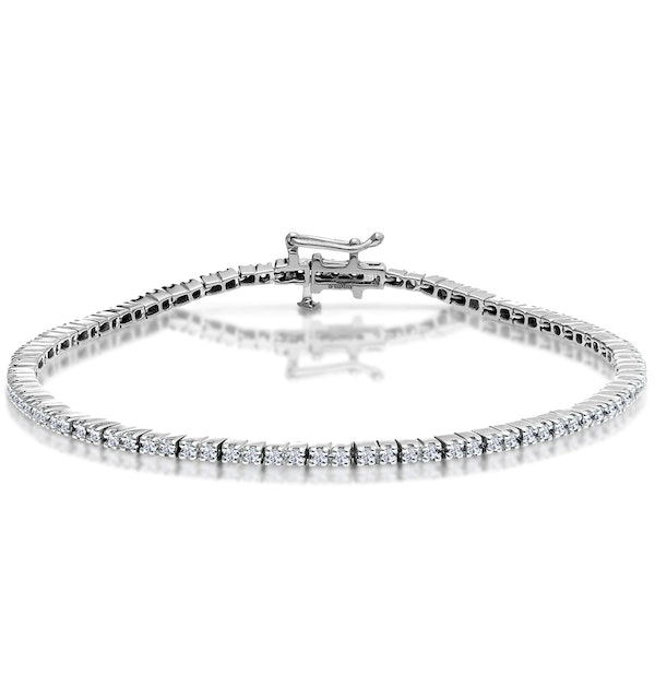 1ct Diamond Tennis Bracelet Claw Set in 9K White Gold - image 1