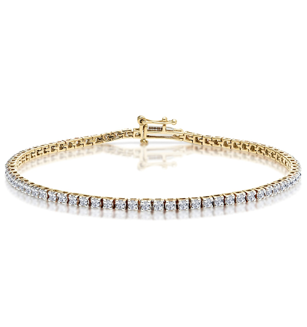 2ct Diamond Tennis Bracelet Claw Set in 9K Yellow Gold