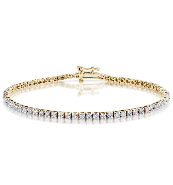 2ct Diamond Tennis Bracelet Claw Set in 9K Yellow Gold - image 1