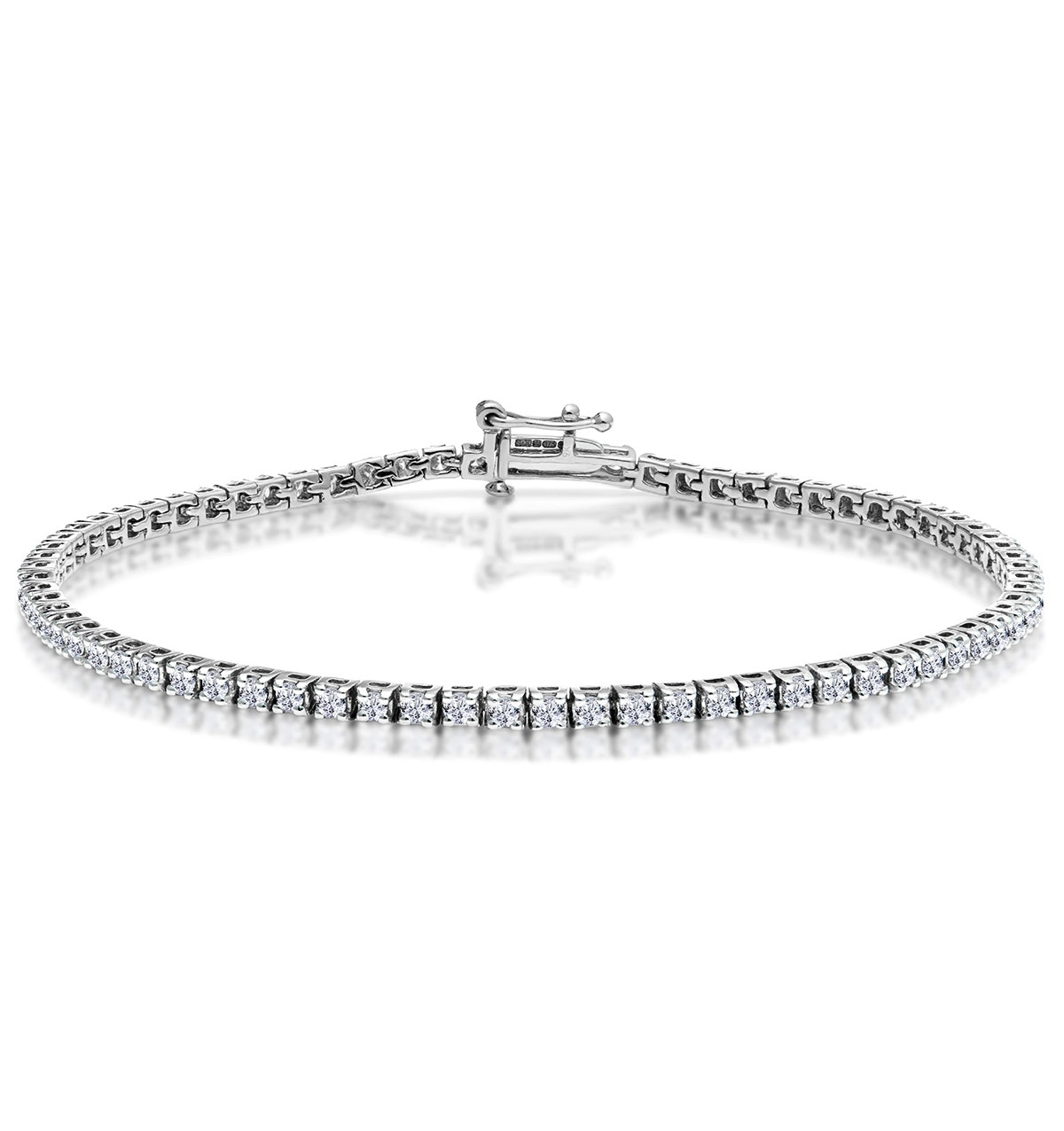 2ct Diamond Tennis Bracelet Claw Set in 9K White Gold
