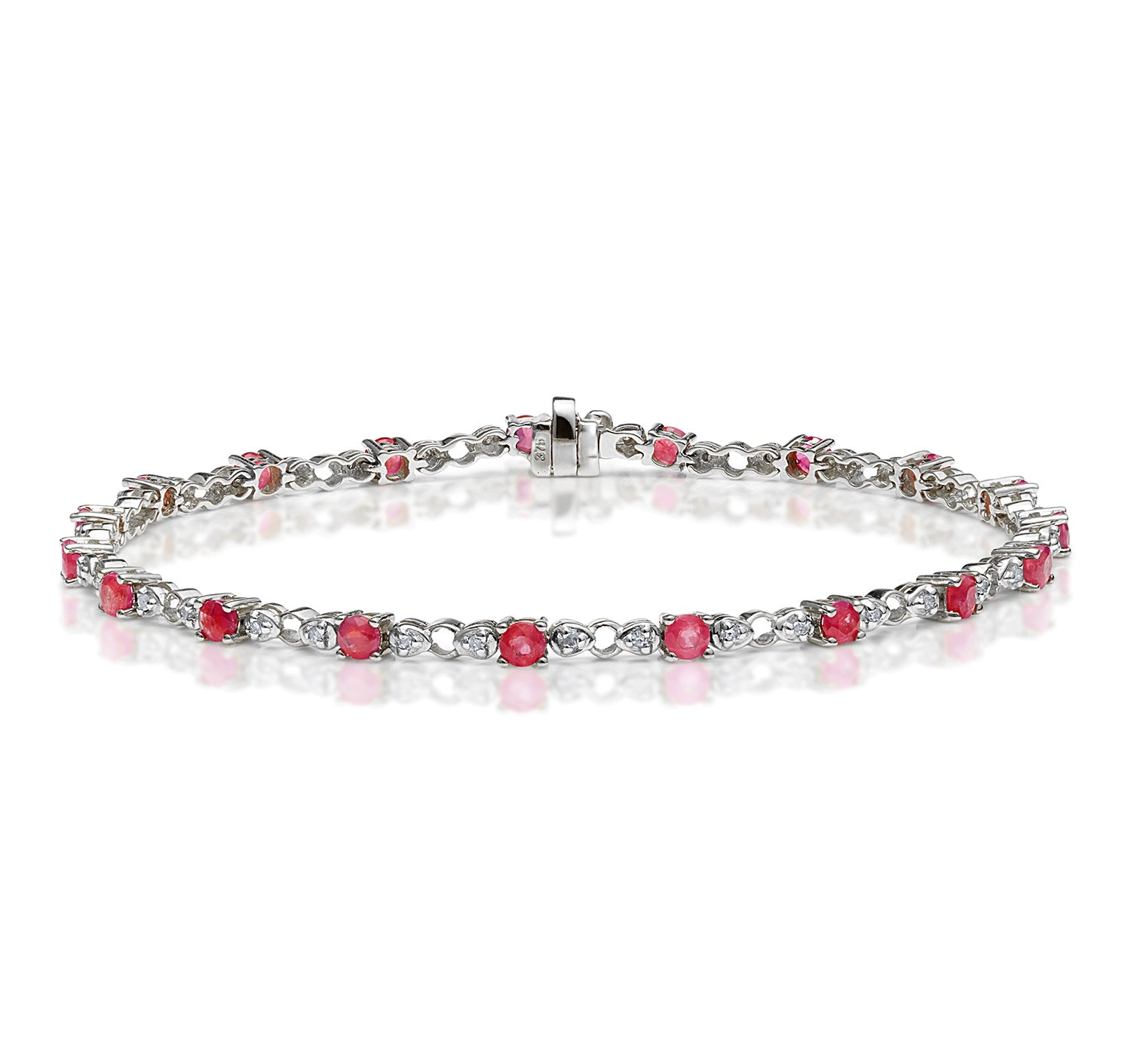 9K White Gold Diamond and Ruby Claw Set Link Bracelet