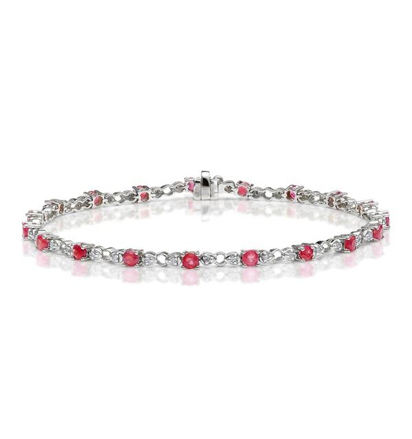 9K White Gold Diamond and Ruby Claw Set Link Bracelet - image 1