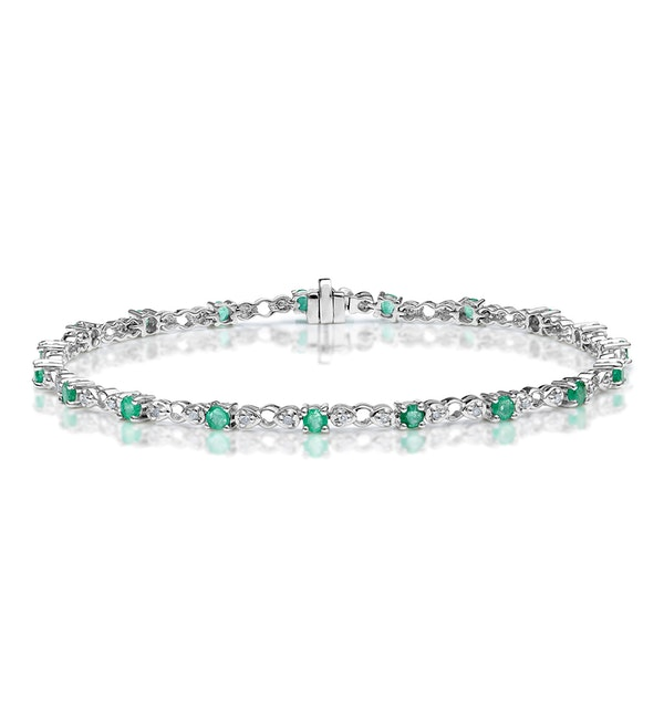 9K White Gold Diamond and Emerald Claw Set Link Bracelet - image 1