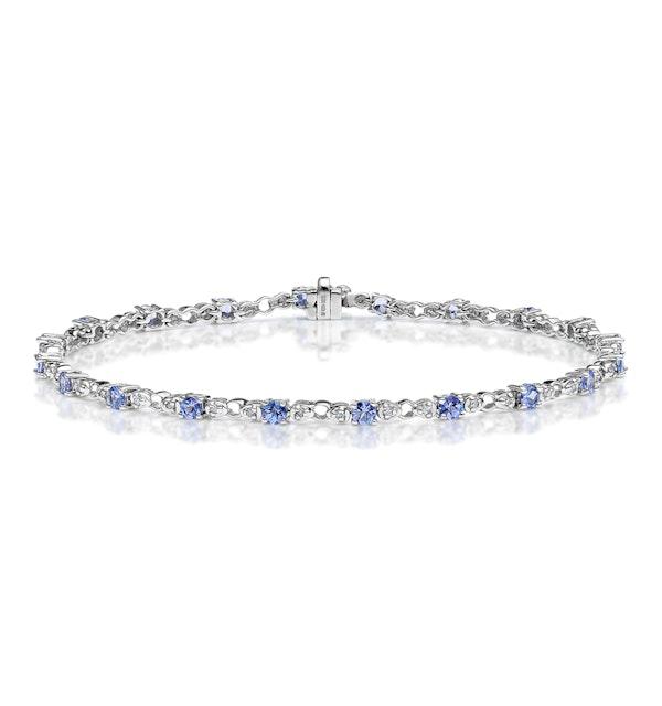 9K White Gold Diamond and Tanzanite Claw Set Link Bracelet - image 1
