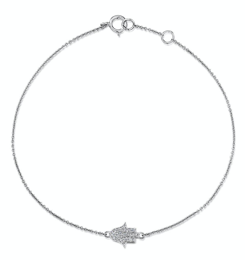 Stellato Collection Hamsa Diamond Bracelet 0.07ct in 9K White Gold